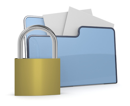 one computer folder icon with a lock, concept of safe data  3d render  photo