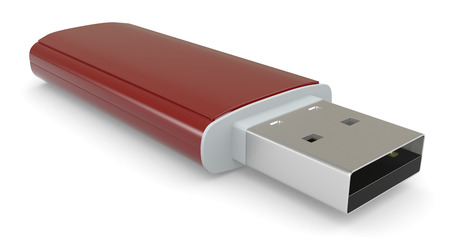 close up view of a red usb key (3d render)