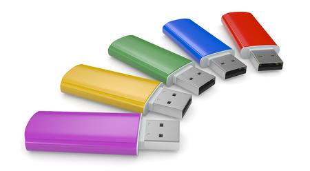 usb: close up view of usb keys in different colors (3d render)