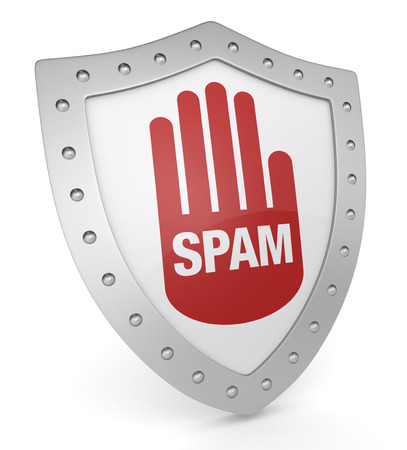 one shield with the word: spam (3d render) Stock Photo