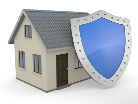 guard house: close up view of a house with a shield (3d render) Stock Photo