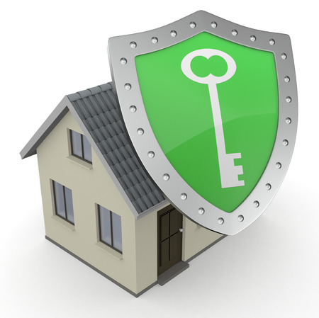 close up view of a house with a shield (3d render) photo