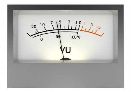 front view of an analog vu meter on white background (3d render)