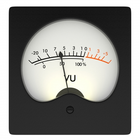 front view of an analog vu meter on white background  3d render  photo