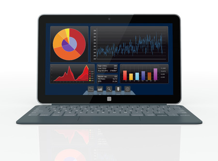 ultrabook: one notebook with a financial software  3d render