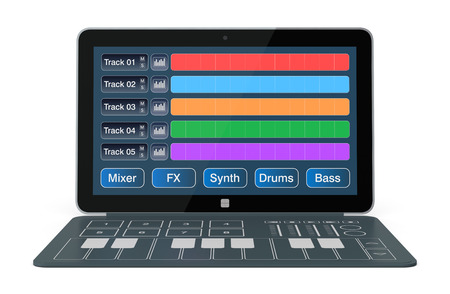 sound mixer: notebook with digital audio software and a dedicated keyboard  3d render  Stock Photo