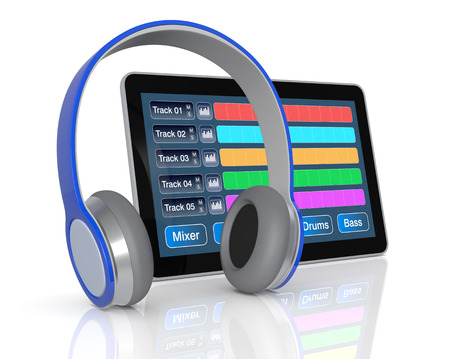 music production: tablet pc with digital audio software and headphones  3d render  Stock Photo