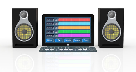 sound mixer: notebook with digital audio software, a dedicated keyboard and studio monitors  3d render  Stock Photo
