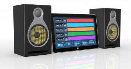 music production: tablet pc with digital audio software and studio monitors  3d render  Stock Photo
