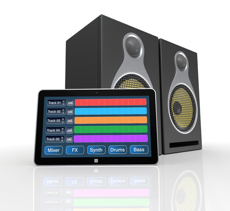 sequencing: tablet pc with digital audio software and studio monitors (3d render)