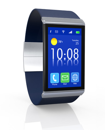 close up view of a smart watch with apps icons (3d render) Stock Photo