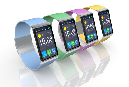 four smartwatch with the strap in different colors  (3d render) photo
