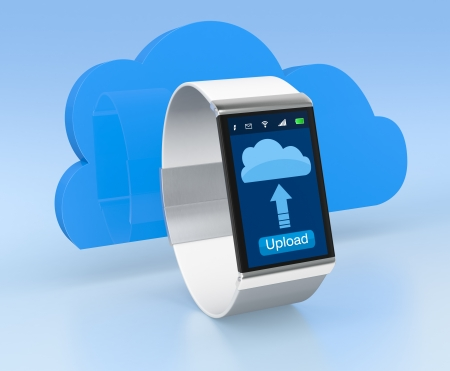 one smart watch with a cloud, concept of cloud computing (3d render) photo