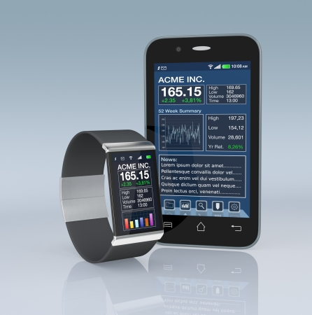 one smartwatch and a smartphone with a stock market software (3d render) photo
