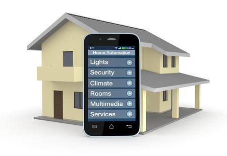 domotique: une maison et smartphone avec un logiciel de domotique (rendu 3D)
