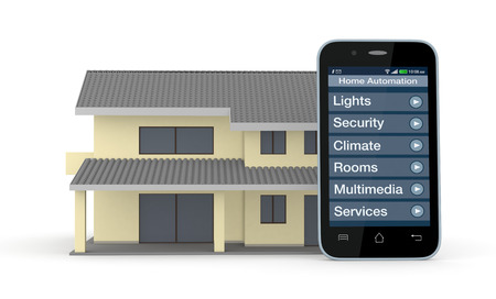 one house and smartphone with a software for home automation (3d render)