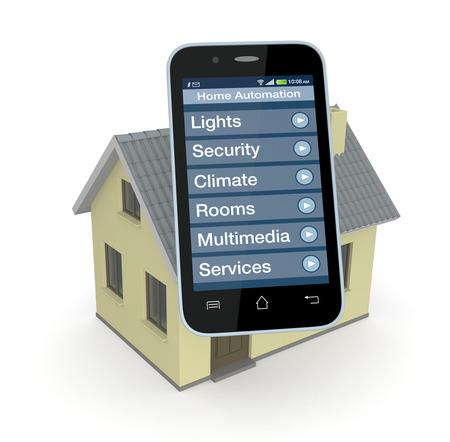 casa: una casa e smartphone con un software per l'automazione domestica (rendering 3d)