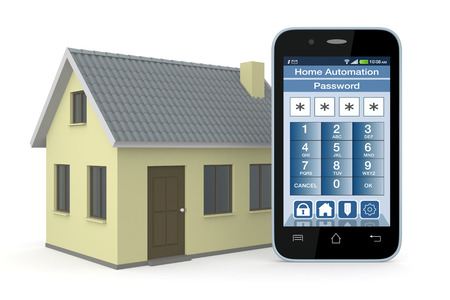 monitoring system: one house and smartphone with a software for home automation (3d render)