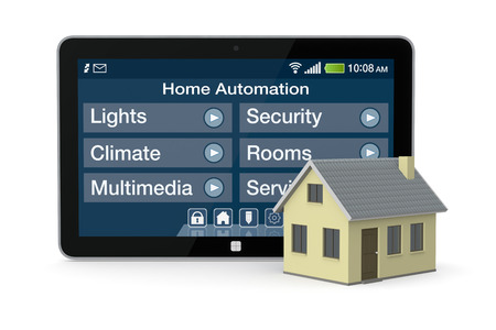 홈 자동화를위한 소프트웨어를 하나의 집과 태블릿 PC (3d 렌더링) 스톡 콘텐츠
