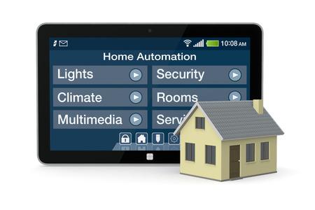 een huis en tablet pc met een software voor domotica (3d render)
