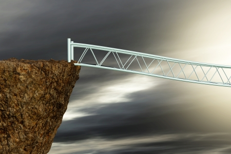 unreal unknown: one foot bridge suspended on space. the destination is unknown. Concepts of challenge, problems, adversity (3d render) Stock Photo