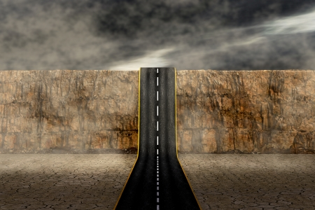 a road that goes up a mountain, concepts of challenge, unknown,adventure (3d render) photo
