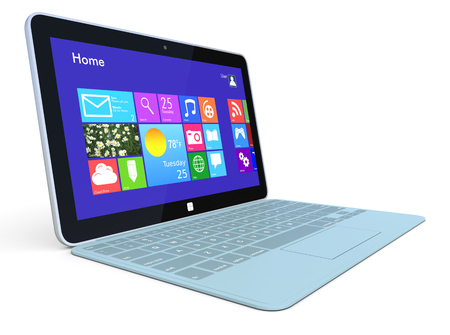 one ultrabook with a detachable keyboard (3d render) photo