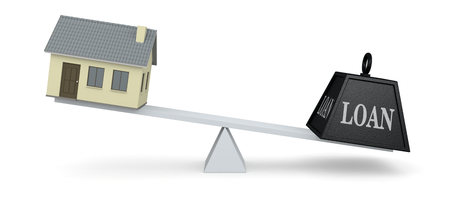 mortgage rates: one balance with a home and a big weight (3d render)