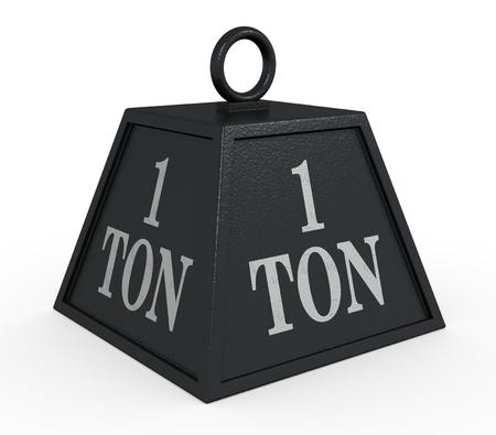 1 つの黒の重量、1 トン (3 d レンダリング)