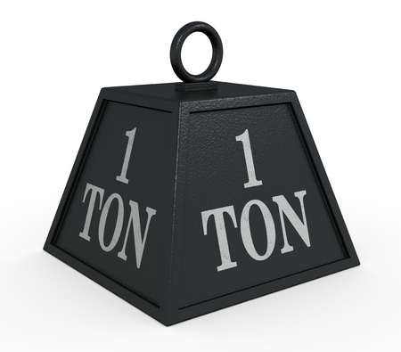 ton: one black weight, 1 ton (3d render)