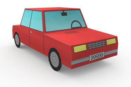 carro caricatura: Vista de cerca de un coche de juguete (3d)