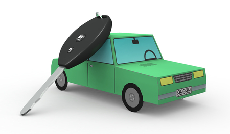 one toy car and a key (3d render) photo