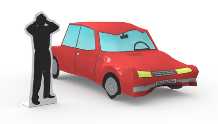 one car that had a crash and a stylized man worried (3d render)