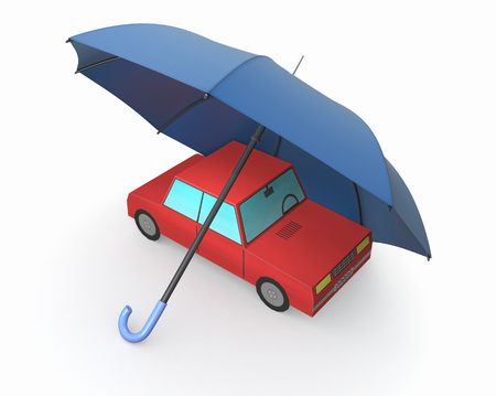 one toy car with an umbrella (3d render) photo