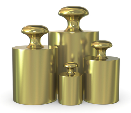 close up of a set of calibration weights ( 3d render)