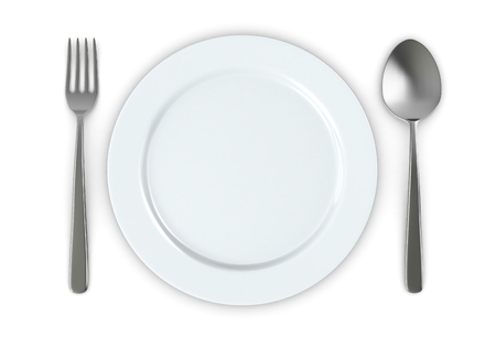 top view of a plate and cutlery (3d render) photo