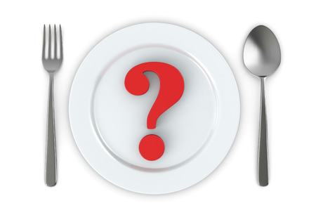 health questions: cutlery and a plate with a question mark (3d render)