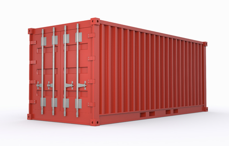 one freight container red colored (3d render) photo