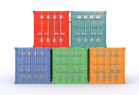 one stack of freight containers in different colors (3d render) photo
