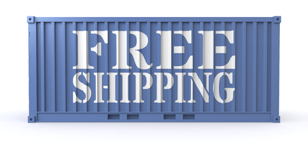 white goods: one freight container with the text: free shipping, on a side (3d render)