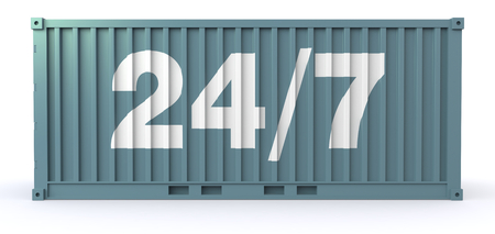one freight container with the text: 247, on a side (3d render) photo