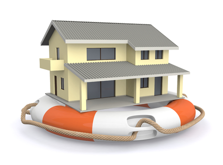 one lifesaver with a house, concept of protection (3d render) photo
