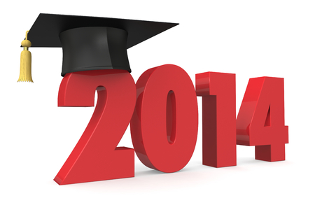 one academic cap or mortarboard with the number 2014, concept of education (3d render) photo