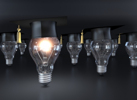 lamp bulbs with academic hats, only one lamp is turned on, concept of education (3d render) photo