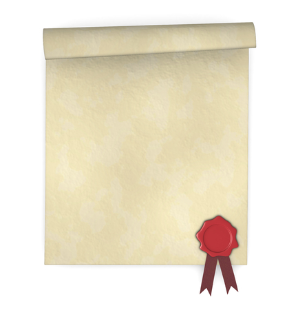 close up of a parchment with a sealing wax stamp (3d render) photo