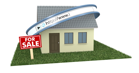 3d cursor: one house with a web address bar and a signboard with text: for sale, concept of real estate on the web (3d render)