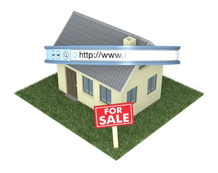 one house with a web address bar and a signboard with text: for sale, concept of real estate on the web (3d render) photo