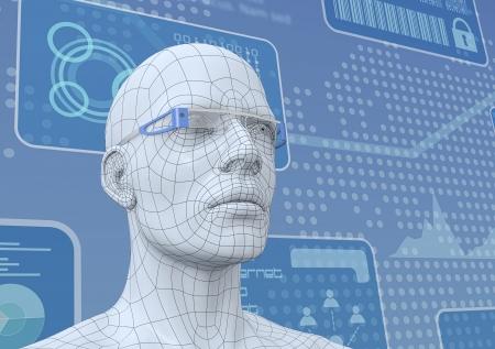 スマート ガラス 3 d レンダリングのペアを持つ人間の頭の 1 つの 3 d モデル