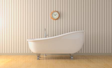 1 つのバスルームには、ヴィンテージと壁時計 3 d のレンダリング