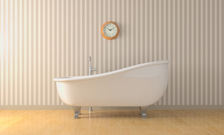 bathtub: one bathroom with a vintage bathtub and a wall clock  3d render